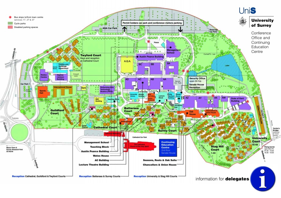 University Of Surrey Map ESSA 2009 :: Location